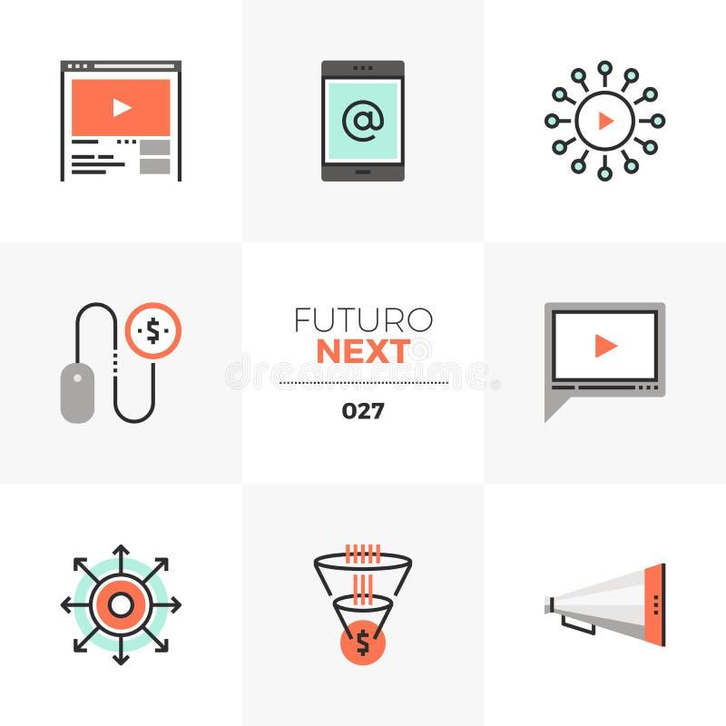 Cyfrowego Futuro Marketingowe Następne ikony royalty ilustracja