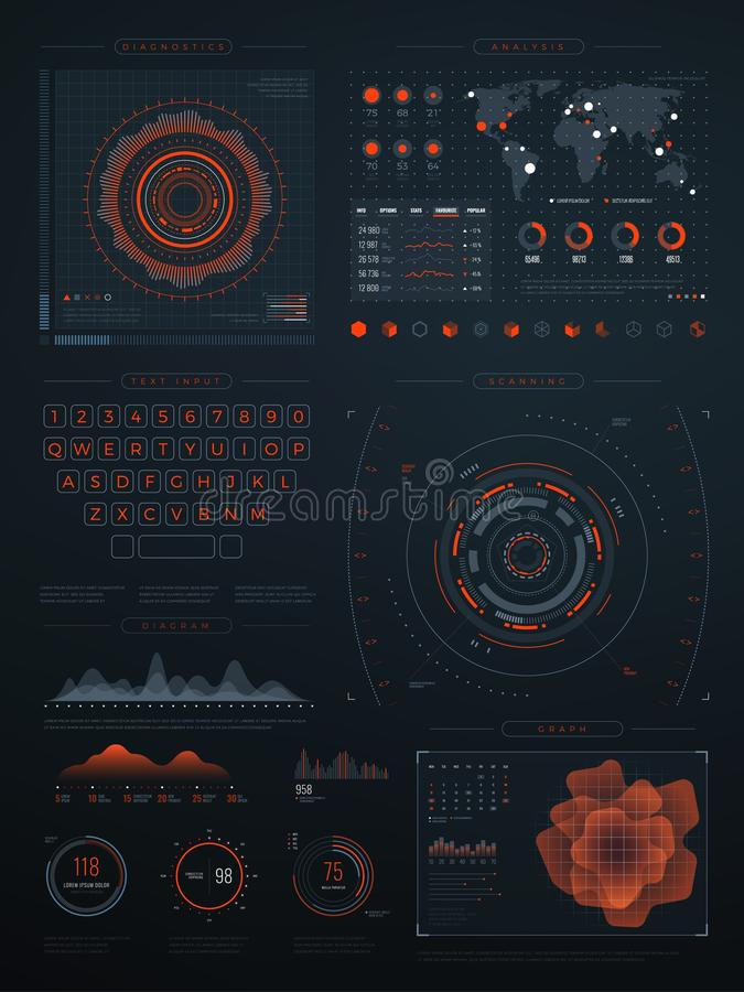 Cyfrowego futurystycznego hud wirtualny interfejs Wektorowy technologia ekran z dane wykresami ilustracji