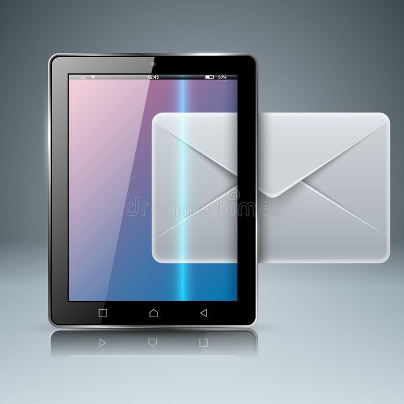 Cyfrowego gadżet, smartphone pastylka, poczta, email, listowa ikona Bu ilustracja wektor