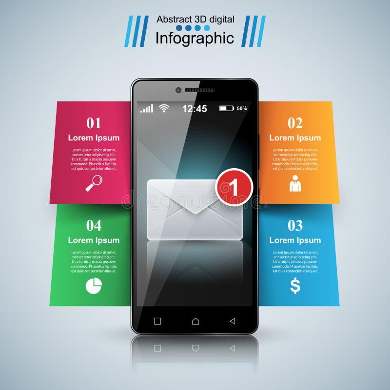 Cyfrowego gadżet, smartphone, poczta, email, kopertowa ikona Biznes ilustracji