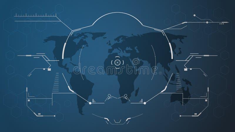 Cyfrowego hud interfejs i światowa mapa ilustracja wektor