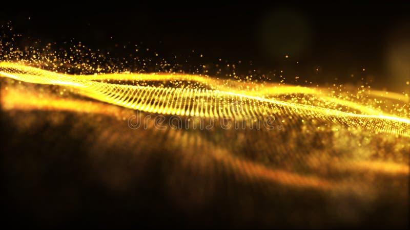 Cyfrowego koloru lśnienia fala cząsteczek złocisty przepływ i bokeh abstr ilustracji