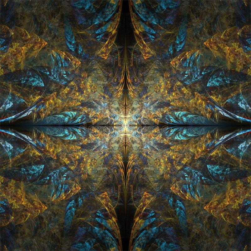 Cyfrowego komputeru fractal sztuki abstrakcjonistycznych fractals złocisty błękitny symetryczny ornament ilustracji