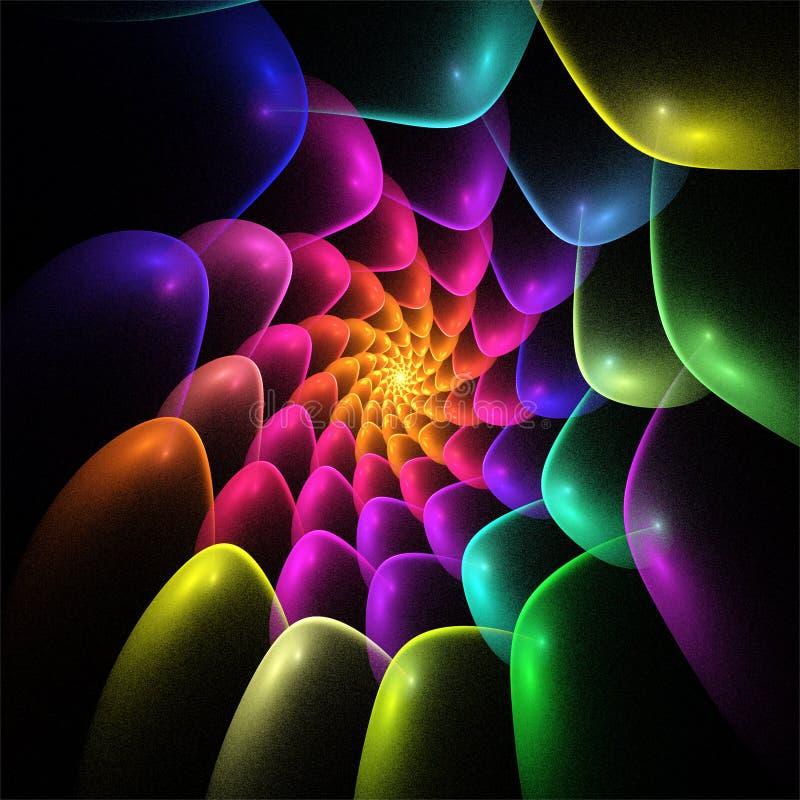 Cyfrowego komputeru fractal sztuki abstrakcjonistycznych fractals zawijasa szaleni kolorowi winogrona ilustracja wektor