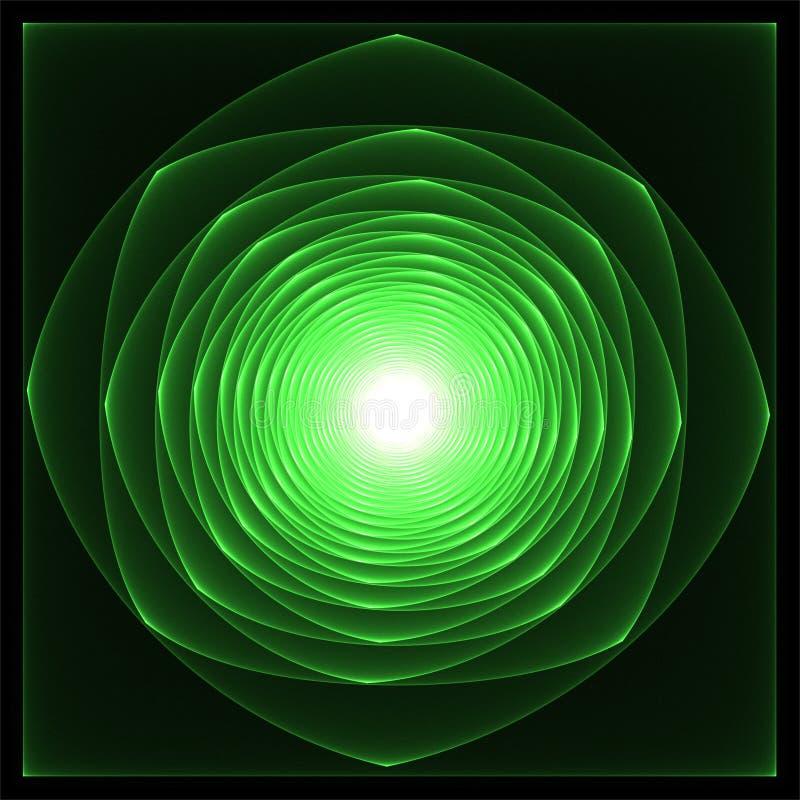 Cyfrowego komputeru fractal sztuki fractals abstrakcjonistyczny wirować jaskrawy - zieleni róża ilustracji