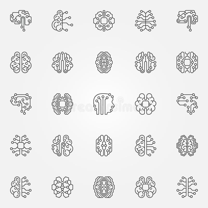 Cyfrowego konturu Móżdżkowe ikony ustawiać Cyberbrain wektoru linii symbole ilustracja wektor