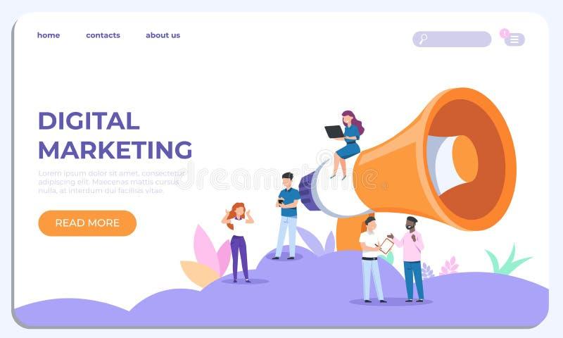 Cyfrowego lądowania marketingowa strona Specjaliści pracuje na biznesowej analizie projekta szablonu wektoru strona internetowa royalty ilustracja