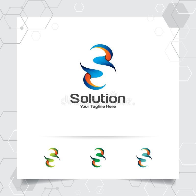 Cyfrowego logo listowego S projekta wektor z nowo?ytnym kolorowym pikslem dla technologii, oprogramowania, studia, app i biznesu, ilustracja wektor
