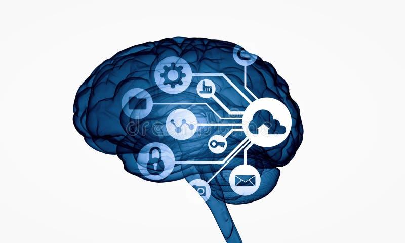 Cyfrowego ludzki mózg royalty ilustracja