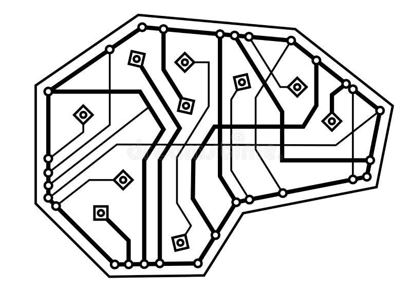 Cyfrowego mózg, cienieje kreskową ikonę Pamięć symbol Elektronicznego obwodu mózg wektor ilustracji