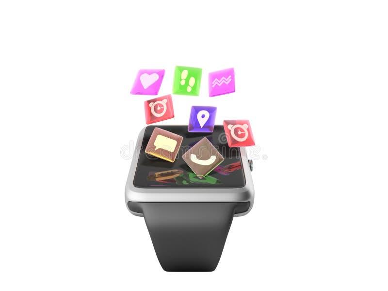 Cyfrowego mądrze zegar z ikonami 3d lub zegarek odpłacamy się na bielu nie sh royalty ilustracja