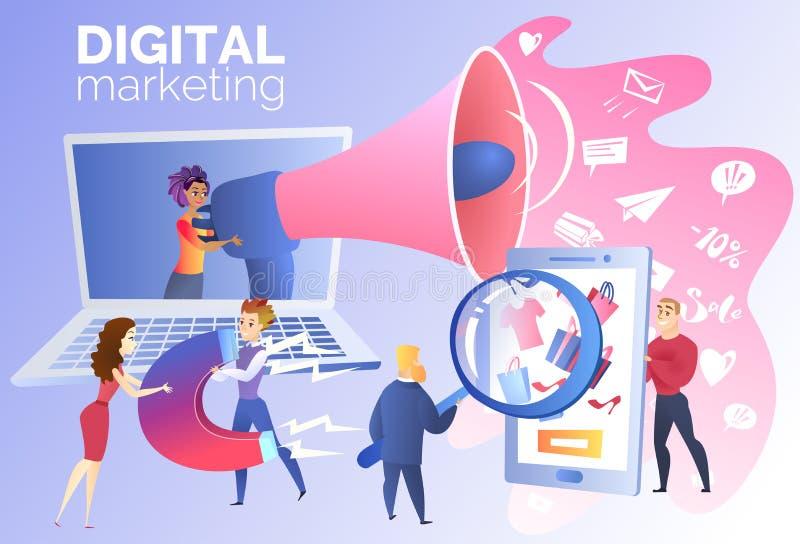 Cyfrowego marketing dla Online Handlarskiego kartonu wektoru ilustracja wektor