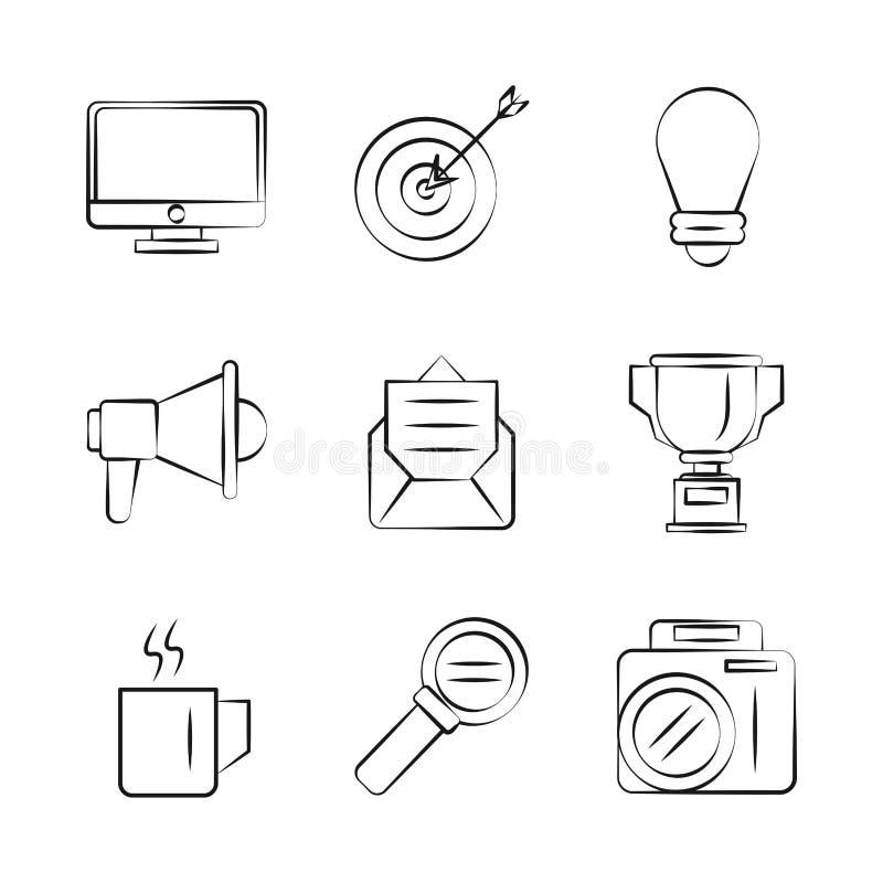 Cyfrowego marketing i online biznesowe ikony ilustracja wektor