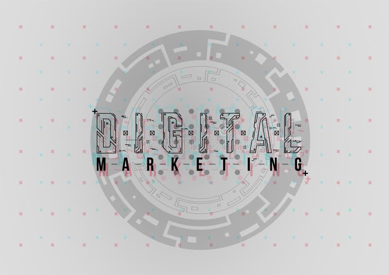 Cyfrowego marketing Konceptualny układ z HUD elementami dla druku i sieci Literowanie z futurystycznym interfejs użytkownika zdjęcia stock
