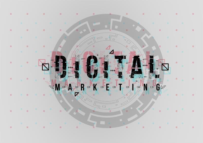 Cyfrowego marketing Konceptualny układ z HUD elementami dla druku i sieci Literowanie z futurystycznym interfejs użytkownika obrazy stock
