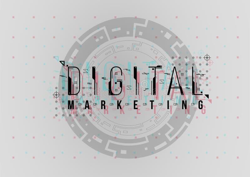 Cyfrowego marketing Konceptualny układ z HUD elementami dla druku i sieci Literowanie z futurystycznym interfejs użytkownika zdjęcia royalty free