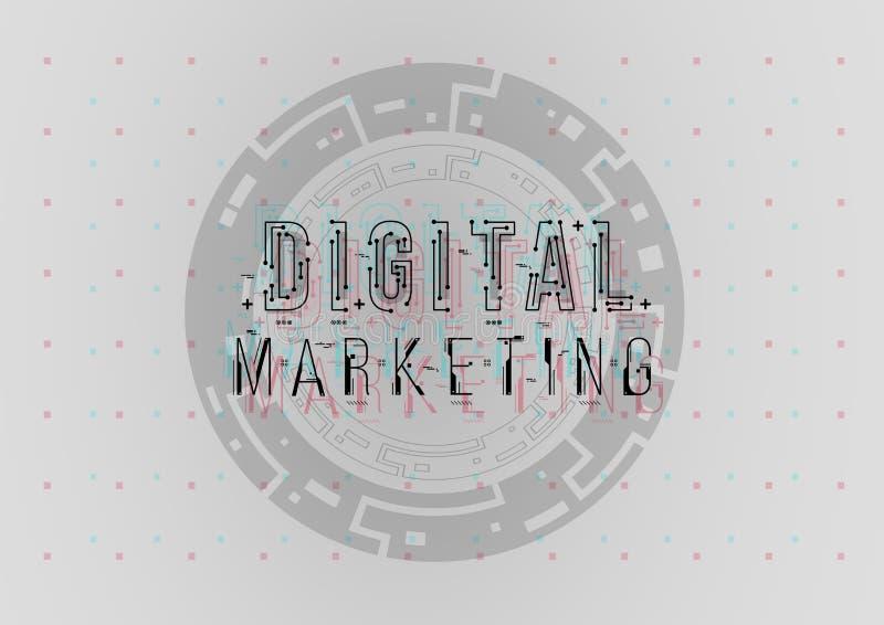 Cyfrowego marketing Konceptualny układ z HUD elementami dla druku i sieci Literowanie z futurystycznym interfejs użytkownika fotografia royalty free