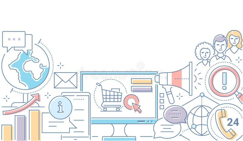 Cyfrowego marketing - nowożytna kreskowa projekta stylu ilustracja ilustracji