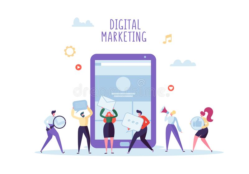 Cyfrowego marketing, Ogólnospołeczna sieć, SEO pojęcie Płascy ludzie biznesu Pracuje Wpólnie na Nowym strona internetowa projekci royalty ilustracja