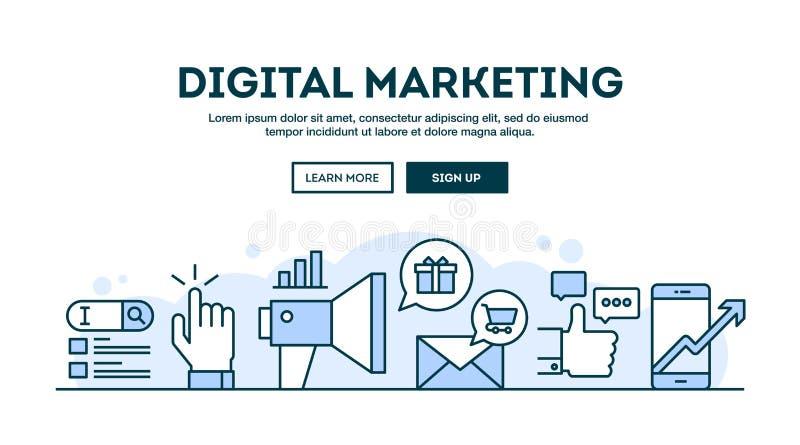 Cyfrowego marketing, pojęcie chodnikowiec, płaskiego projekta cienki kreskowy styl ilustracja wektor