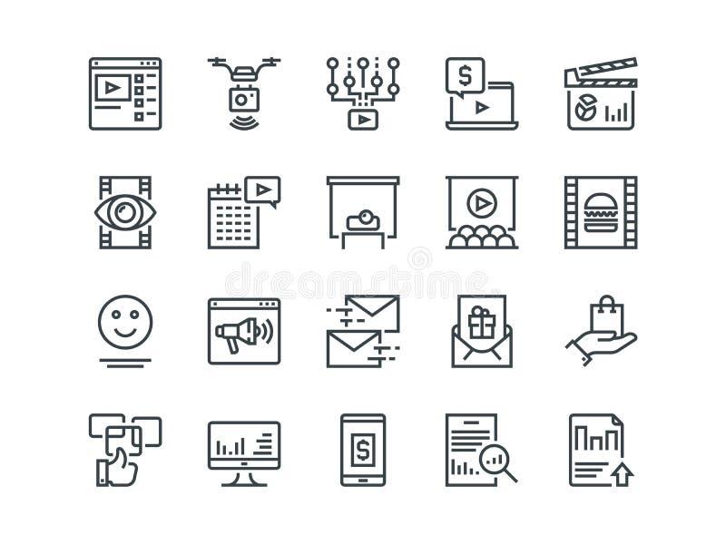 Cyfrowego marketing Set konturu wektoru ikony Zawiera tak jak Wirusowy wideo royalty ilustracja