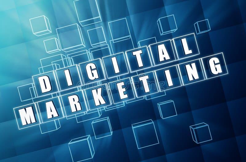 Cyfrowego marketing w błękitnych szklanych sześcianach zdjęcie stock