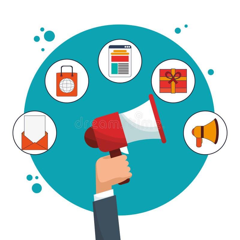 Cyfrowego marketingowego narzędzia pracujący wizerunek ilustracji