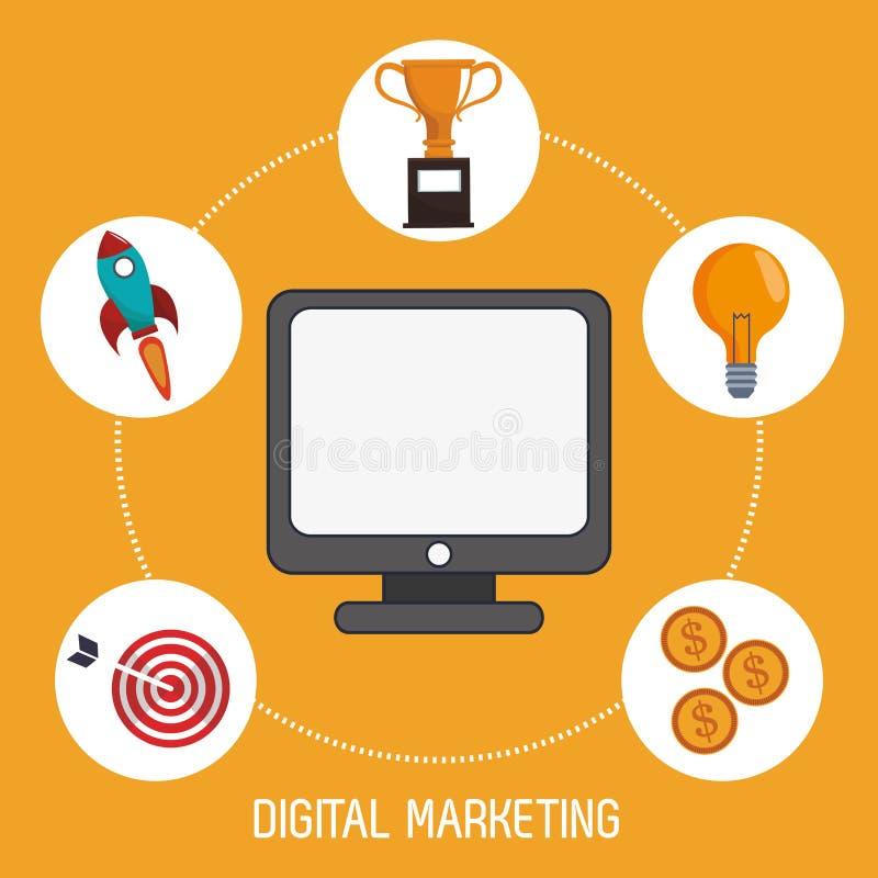 Cyfrowego marketingowego zarządzania produkci wizerunek ilustracji