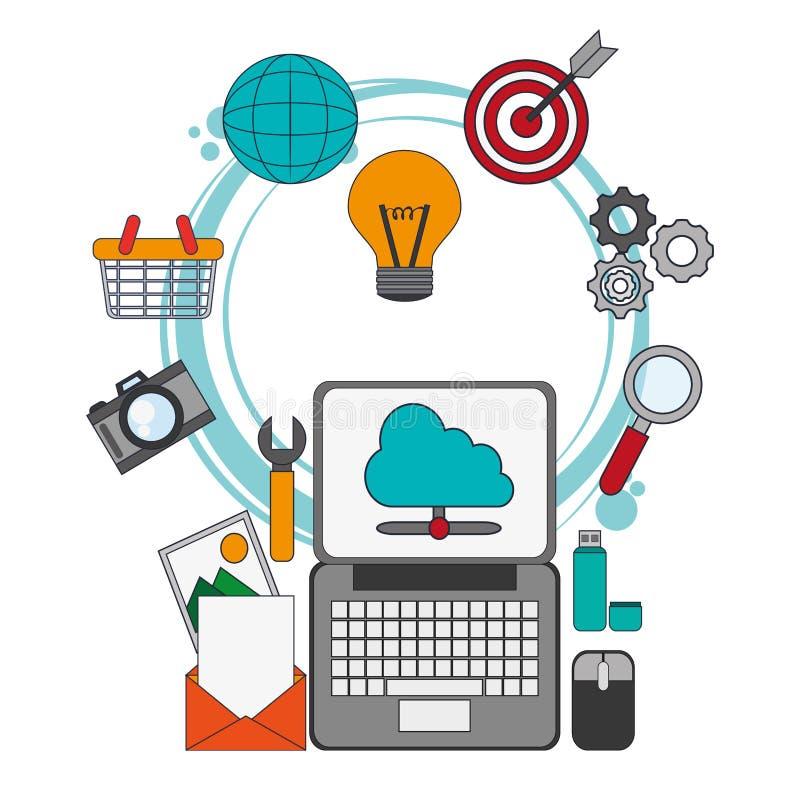 Cyfrowego marketingowy plasowanie optymalizuje pracę royalty ilustracja