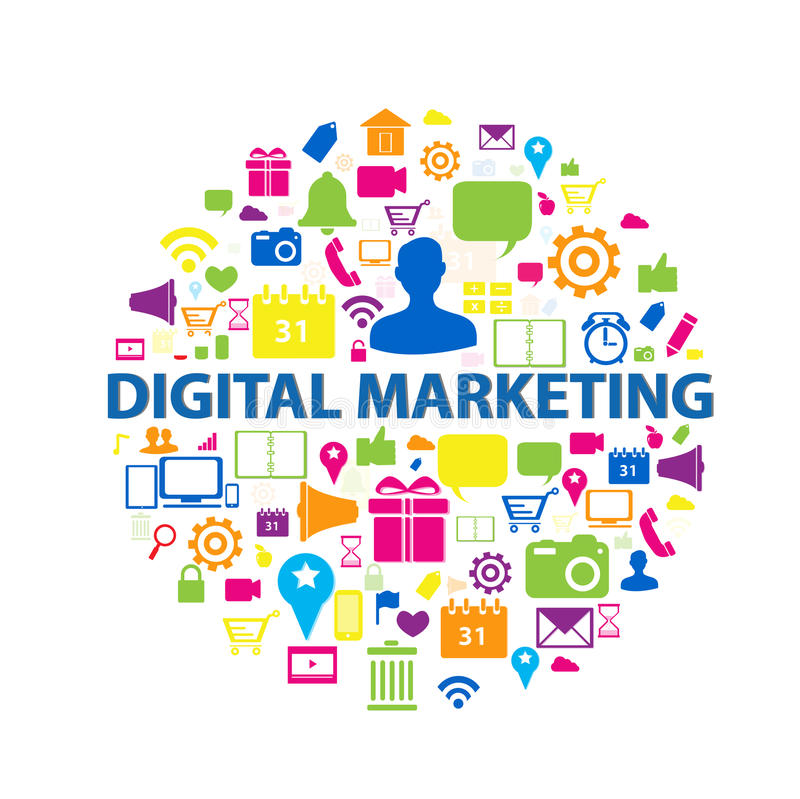 Cyfrowego marketingowy pojęcie ilustracji