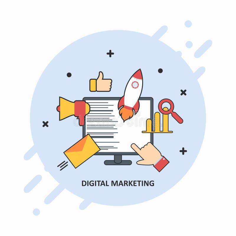 Cyfrowego marketingowy pojęcie Płaska ilustracja cyfrowa medialna agencja z biznesowymi ikonami royalty ilustracja