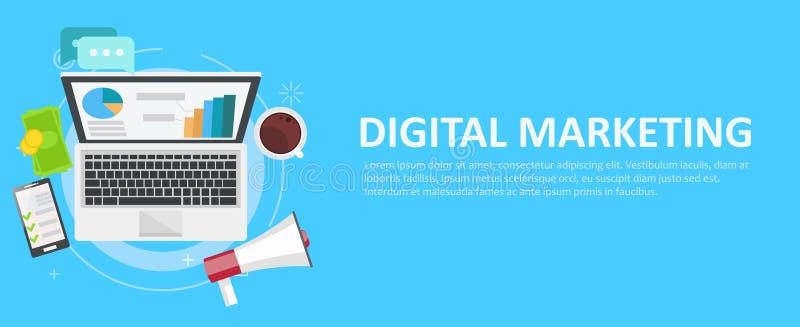 Cyfrowego marketingowy sztandar Komputer z wykresami, pieniądze, megafonem i kawą, royalty ilustracja