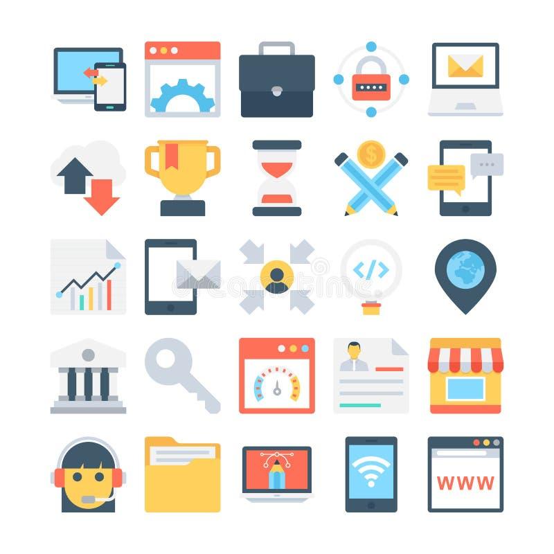 Cyfrowego marketingu Barwione Wektorowe ikony 4 royalty ilustracja