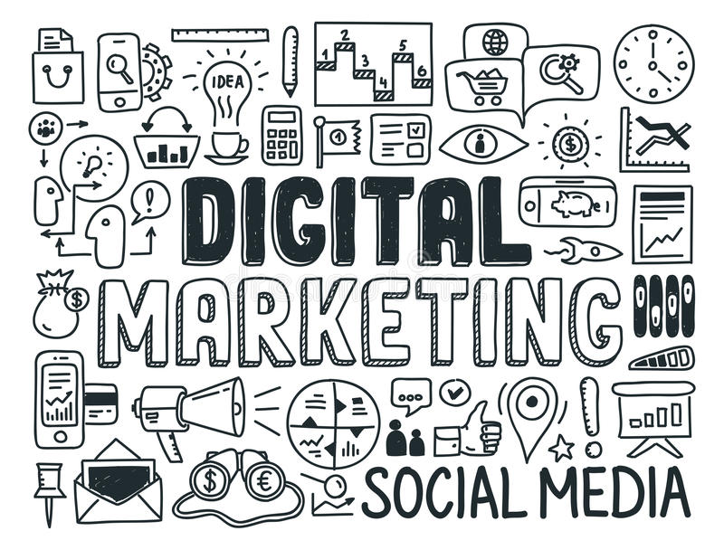 Cyfrowego marketingu doodle elementy ustawiający royalty ilustracja
