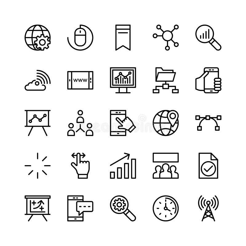 Cyfrowego marketingu linii Wektorowe ikony 1 royalty ilustracja