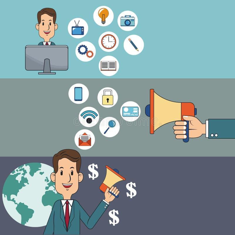 Cyfrowego marketingu mężczyzna sieci pieniądze socjalny środki ilustracji