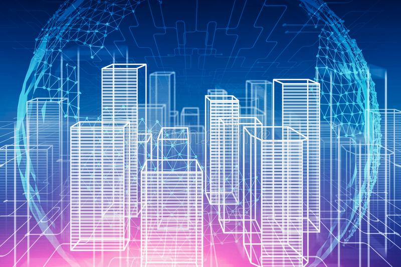 Cyfrowego miasta hologram i planeta interfejs ilustracja wektor
