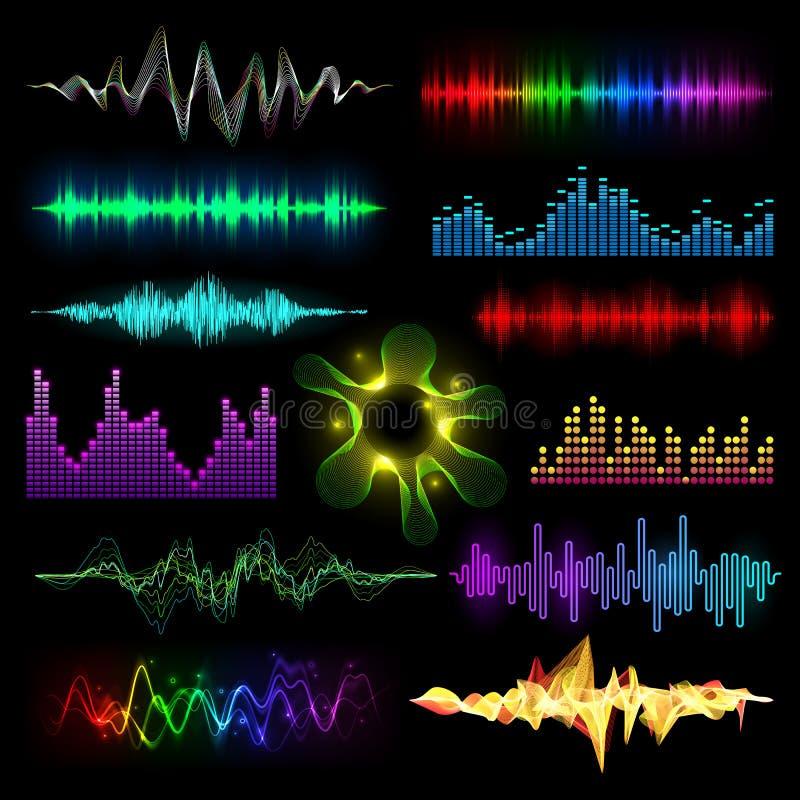 Cyfrowego muzycznego wyrównywacza audio fala ustawiają wektorowego llustration projekta szablonu audio sygnału unaocznienie royalty ilustracja