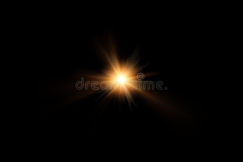 Cyfrowego obiektywu raca, słońce wybuch na czarnym tle obraz stock