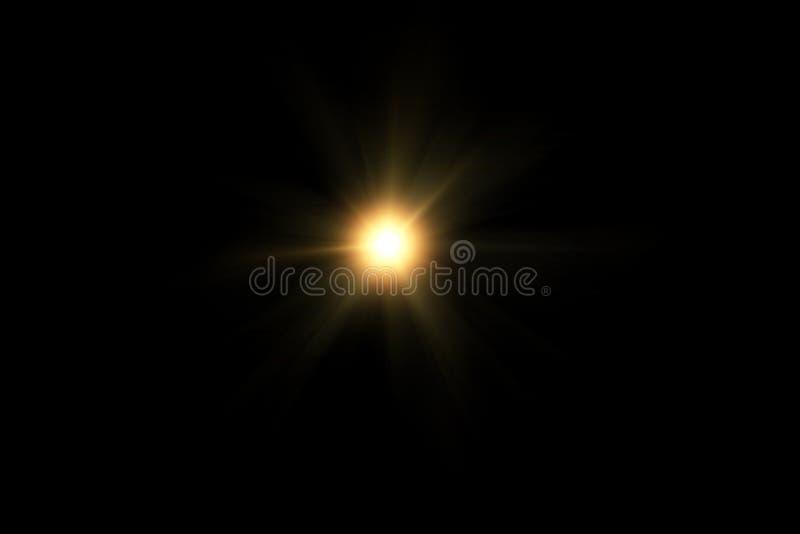 Cyfrowego obiektywu raca, słońce wybuch na czarnym tle obraz royalty free