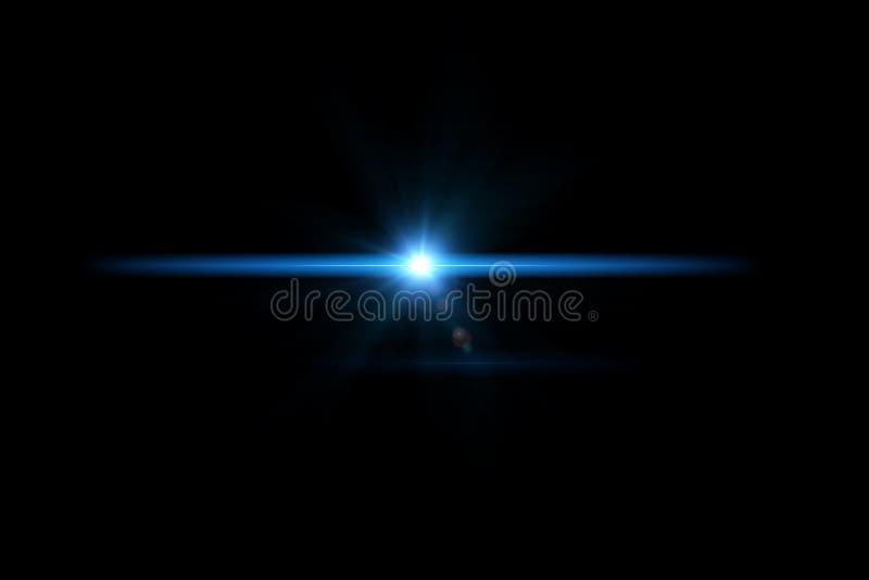 Cyfrowego obiektywu raca, słońce wybuch na czarnym tle zdjęcia stock