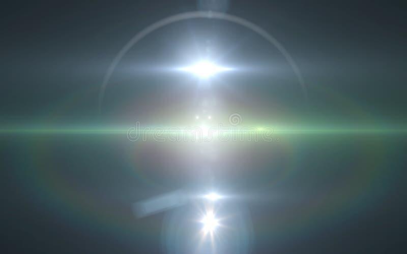 Cyfrowego obiektywu racy światła przemiana, obiektywu raca, lekcy przecieki, Abstrakcjonistyczne narzuty ilustracja wektor