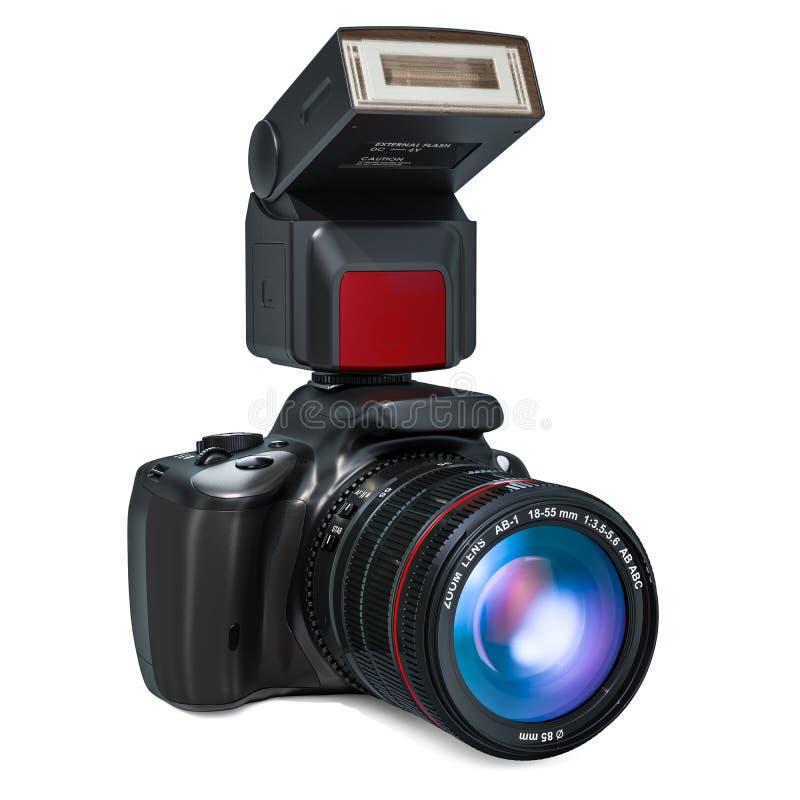 Cyfrowego obiektywu refleksowa kamera z elektronicznym external błyskiem ilustracji