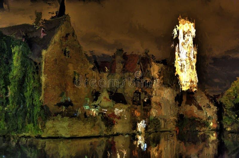Cyfrowego obraz Bruges nocą royalty ilustracja
