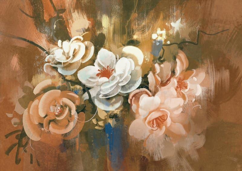 Cyfrowego obraz kolorowi abstrakcjonistyczni kwiaty royalty ilustracja