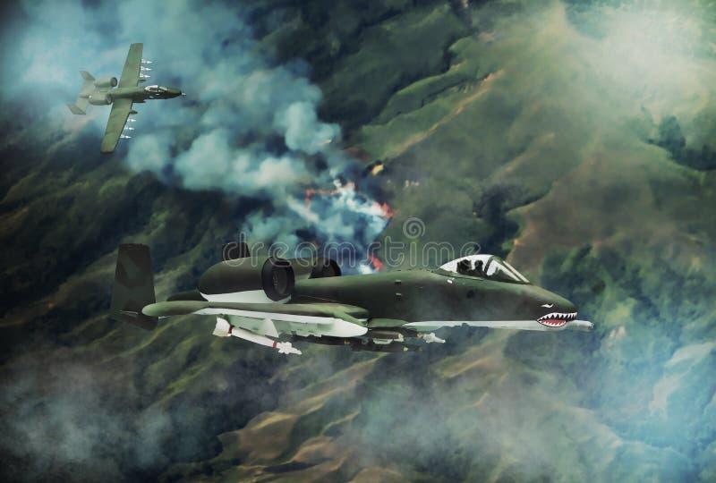 Cyfrowego obraz nowożytny samolot wojskowy ilustracja wektor