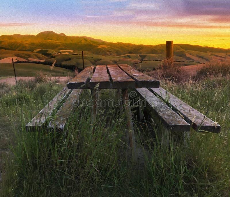 Cyfrowego obraz olejny, Piękny mroczny malowniczy ziemia uprawna widok Środkowa dolina, Canterbury, Nowa Zelandia Drewniana ławka fotografia royalty free