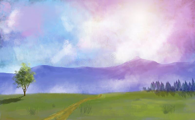 Cyfrowego obrazu łąka, drzewa i las z dramatycznym niebem, royalty ilustracja