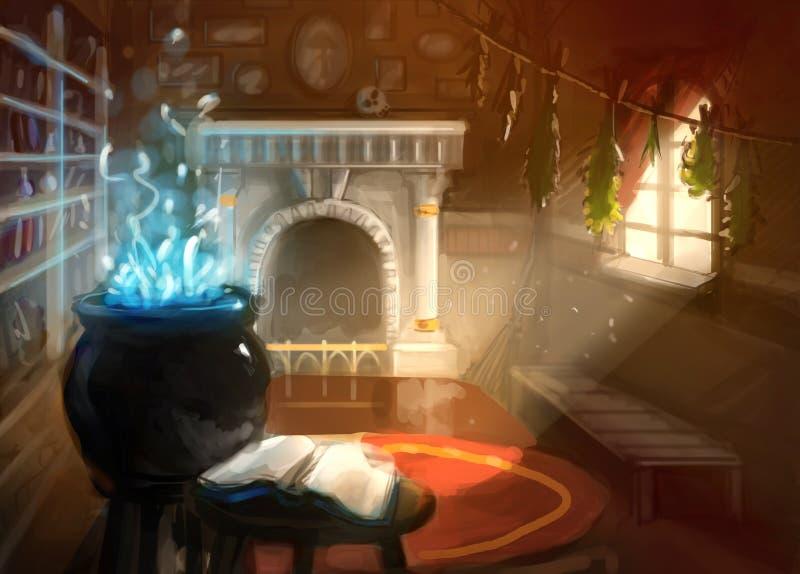 Cyfrowego obrazu czarownika domu wnętrze ilustracji