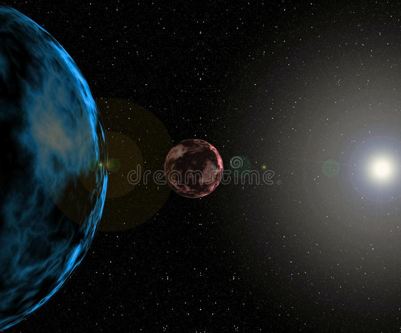 Cyfrowego obrazu galaktyki tła zakończenia Abstrakcjonistyczny słońce i planety w układzie słonecznym ilustracji